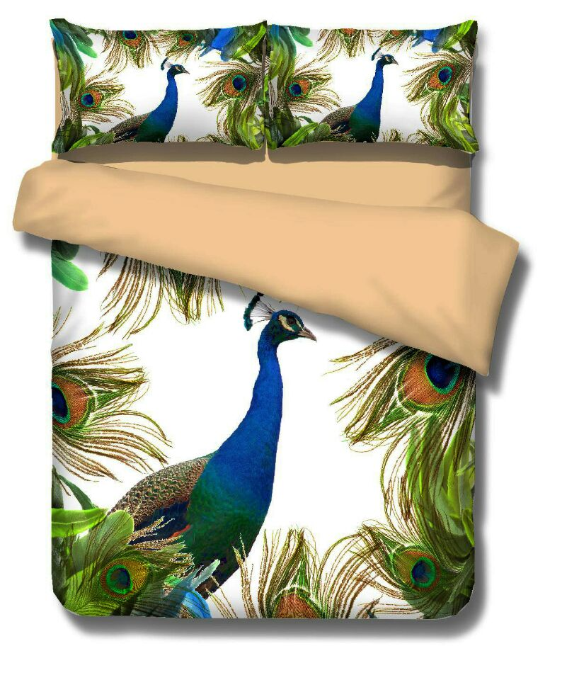 New 3D bedding set peacock and flower ,bed linen,bedding-set,family set 3pcs quilt /bed sheets / pillowcases.king sizeNew 3D bedding set peacock and flower ,bed linen,bedding-set,family set 3pcs quilt /bed sheets / pillowcases.king size