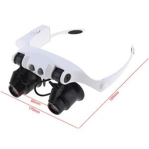 10X 15X 20X 25X Регулируемая головная повязка увеличительное стекло для глаз увеличительное стекло инструмент с светодиодный светильник и 8 линз для ремонта драгоценностей