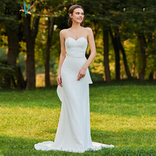 Dressv Long Wedding Dresses Sweetheart Neck Mermaid Sleeveless Sweep Train Bow Organza Satin Church Custom Wedding Dresses