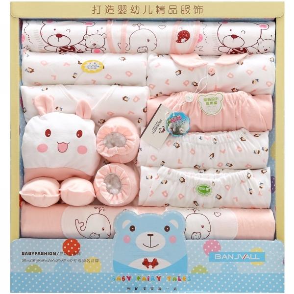 Outono e inverno roupas lingerie recém-nascidos 100% algodão roupas de bebê de alta qualidade quatro estações do presente do bebê set 17 peça set