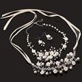 4 unidades joyería nupcial de la perla nupcial pendientes de cristal de joyería de la boda accesorios para el cabello diadema hecha a mano