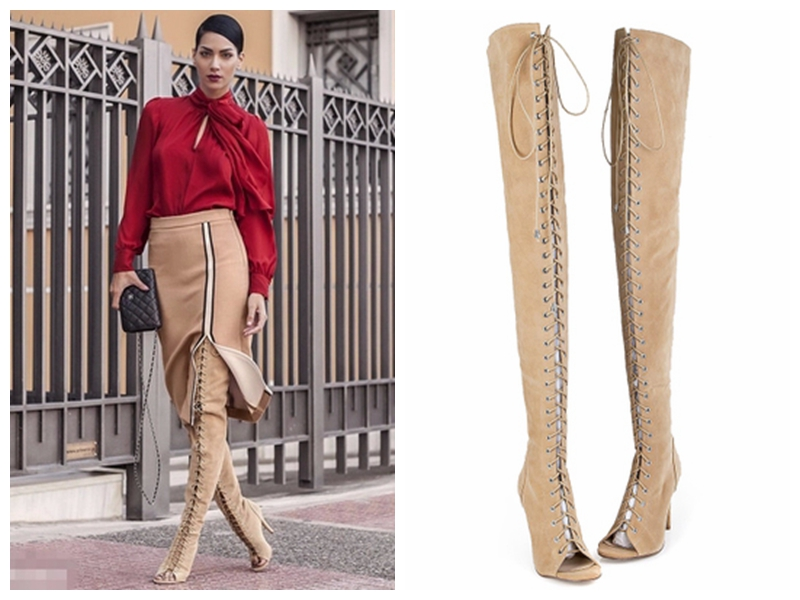 New Brand Summer Women Sandals Boots Gladiator Sandals Cut-Outs Thin Heels High Heels Shoes Woman Over-the-Knee Boots PPO096 2015 new deluxe brand 100% high quality flat summer women knee high gladiator sandals genuine leather cut outs cover heel shoes
