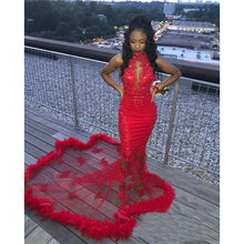 Сексуальные платья Русалочки с красным пером для выпускного