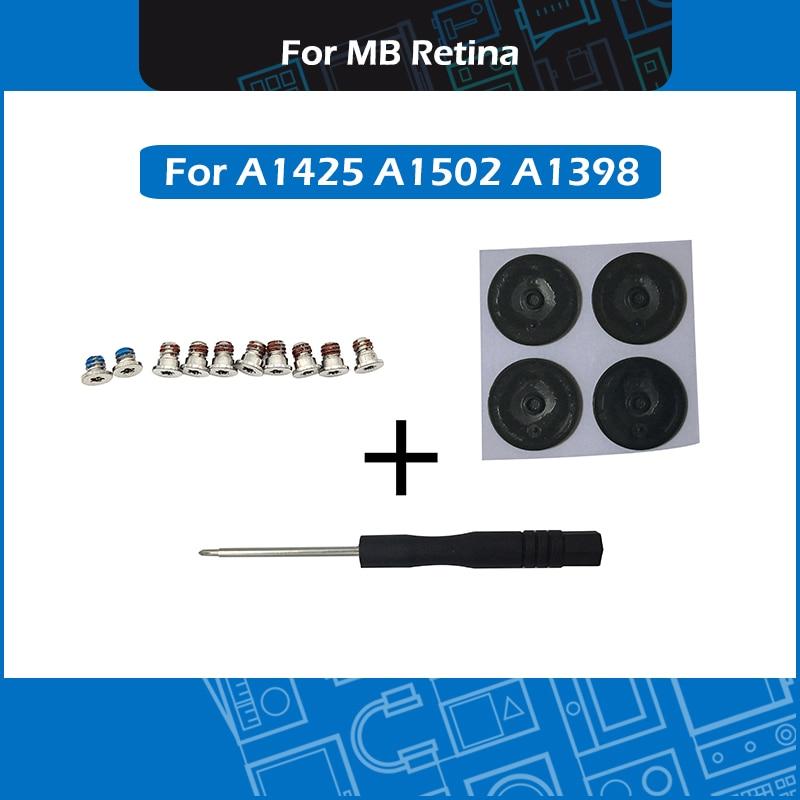 New For Macbook Pro Retina A1425 A1502 A1398 Bottom Case Screws Set + Acrewdriver + Bottom Rubber Feet Kit 2012 - 2015