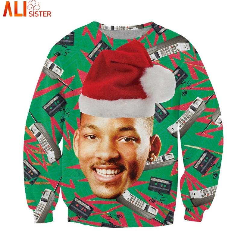 Alisister fashion Santasaurus/cat pizza/Carlton Sweatshirt printed Merry Christmas women/men harajuku 3d sweatshirt