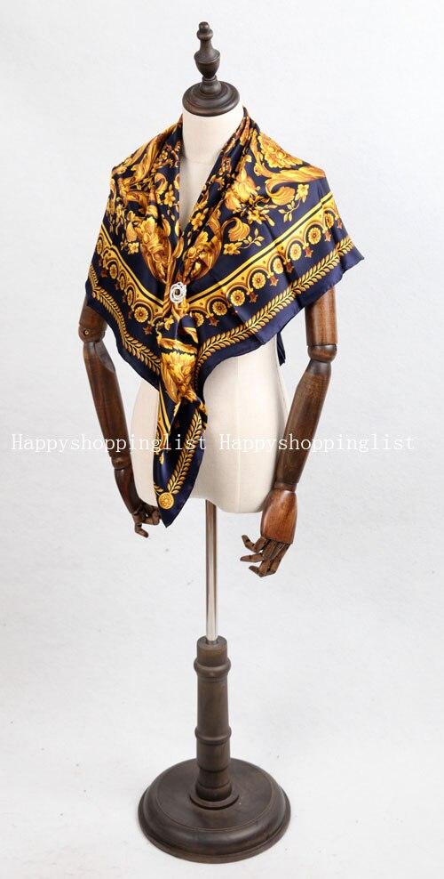Elegante marca hecha a mano 100% crepe satén seda liso 110 cm bufanda - 4
