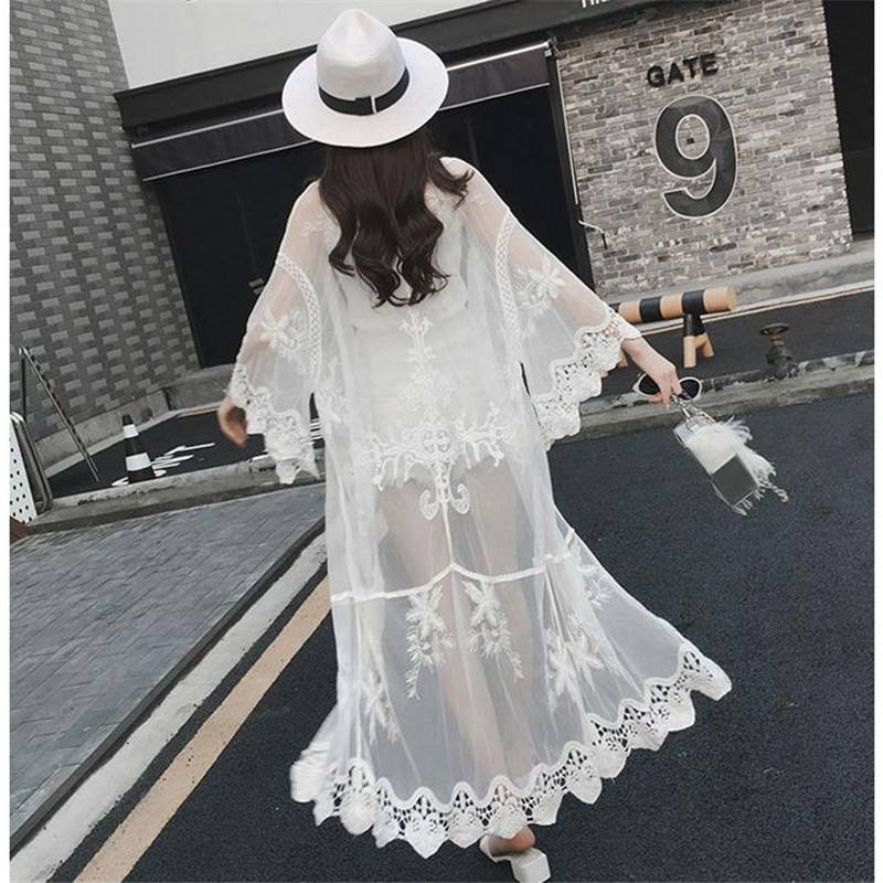 Transparent Sexy Summer White Lace Women Windbreaker Elegant Floral Crochet Long Female Coat Loose Sunscreen Trench Coat CM309