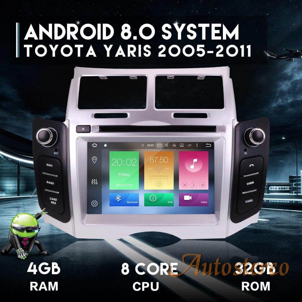Andriod7 Android8.0 Car DVD Player Radio GPS Per Auto Unità di Sistema di Navigazione per Toyota Yaris 2005-2011 auto stereo multimediale stereo