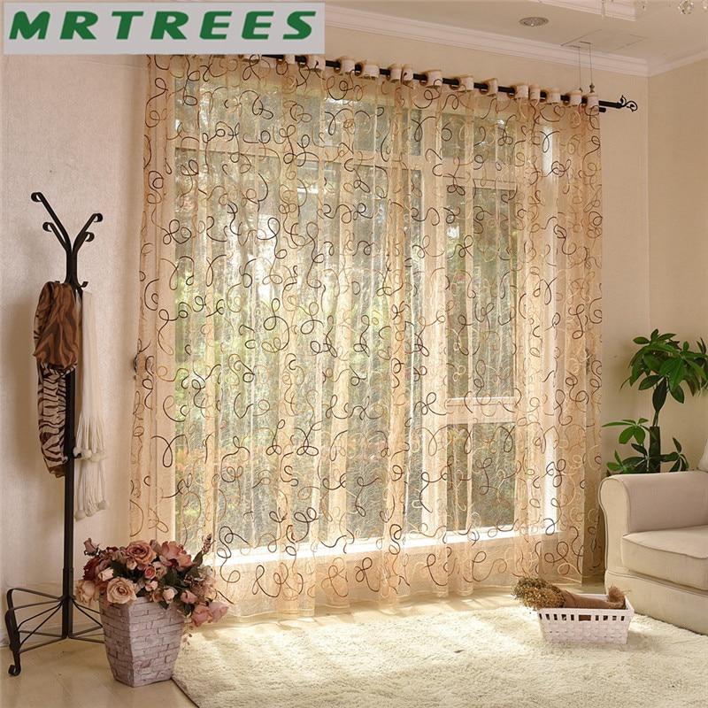 Moderna izšūti milzīgie aizkari loga tilla aizkari dzīvojamā istabā guļamistaba virtuve balta Voile aizkari logiem Drapērijas