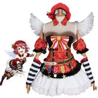 Люблю жить солнце ruby Kurosawa Рождество хор Футболка Топ платье равномерное наряд аниме Костюмы для косплея