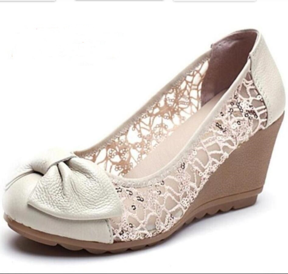 2017 New Fashion High Heels Women Pumps Genuine Leather Lace Ivory Ladies Wedge Shoes Sandal