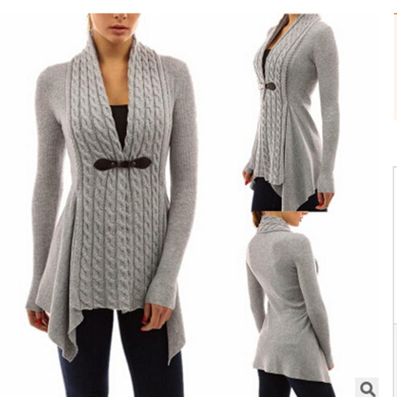 V-Neck Daily Cotton Polyester Material Women Long Sleeve Sweater Casual Knitted Cardigan Outwear Spring,Fall,Winter ##ZJ