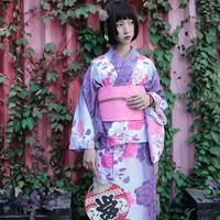 2018 Japan Traditional Cotton Kimono with Obi Japan Flower Bathrobes Women Yukata Sleepwear Bath Robe A52201