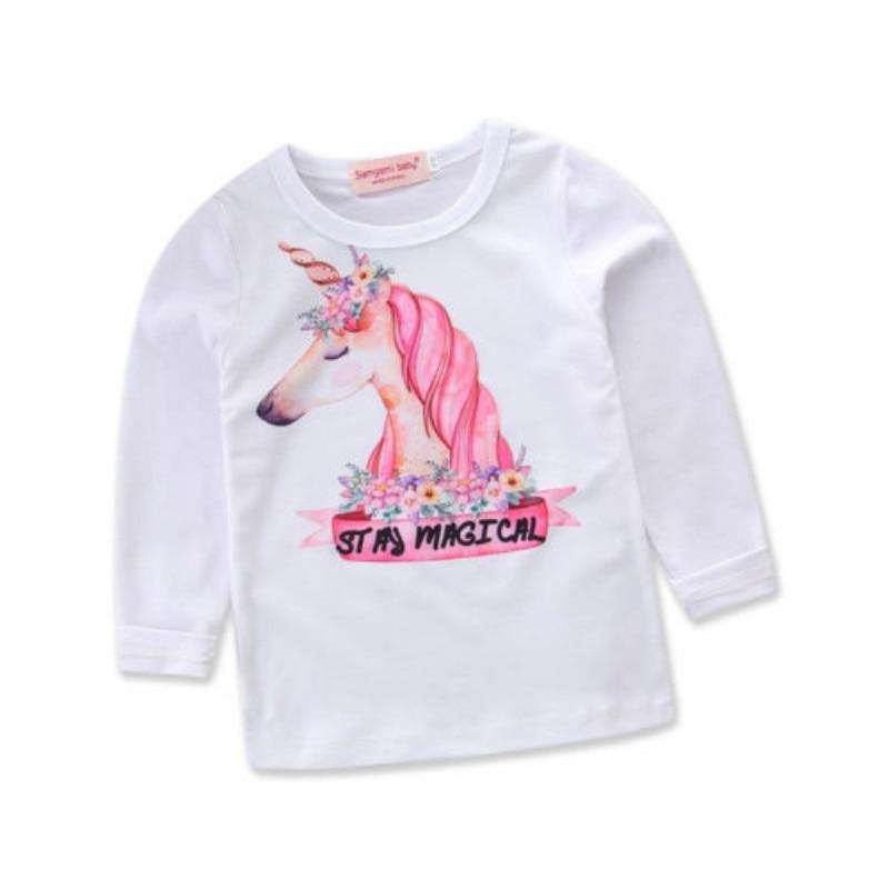 Cute Baby Kids Boy Girl Print Long Sleeve Tshirt Pullover Cotton Top T Shirt Girls Shirts