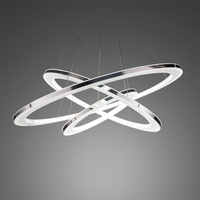 Freies Verschiffen Fhrte Pendelleuchte Moderne Drei Ringe Lampe Anhnger Fr Esszimmer Wohnzimmer Acryl Edelstahl