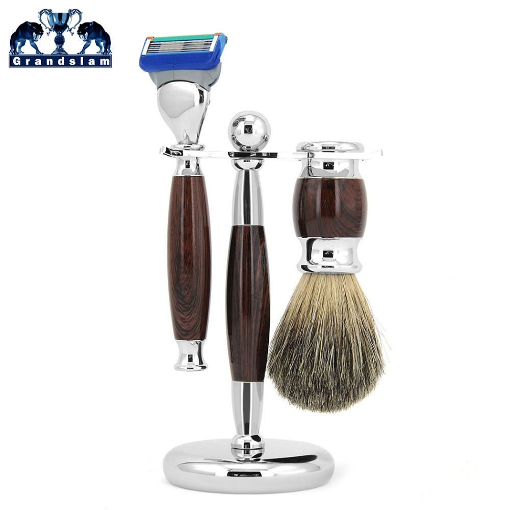 Grandslam Mens Shaving Razor Set Cartridge 5 Blade Safety Razors Badger Shaving Brush Stand Holder Kit + Gift Box