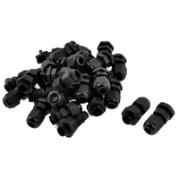 LIXF HOT 30 Pcs PG7 Waterproof Connector Gland Black for 4-7mm Diameter Cable