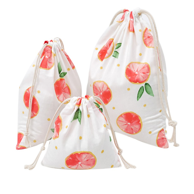 3Pcs/Lot Stylish Printed Drawstring Bags Cotton Linen Creative Storage Bag For Home Use Cute Item Classification Picnic Bag