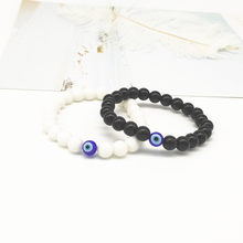 Fashion 8mm Turkish Evil Eyes Bracelet Black Stone Beads Obsidian Men Braslet For Male Yoga Hand Jewelry Accessories(China)