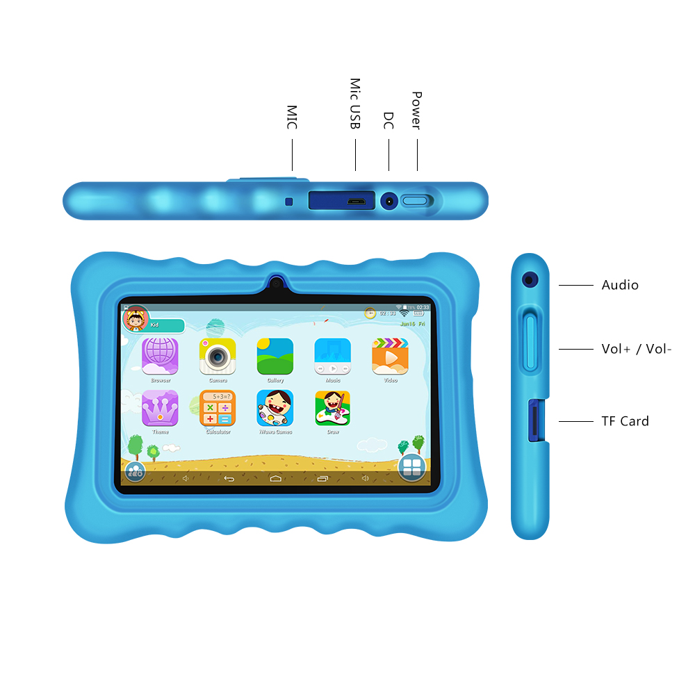 Yuntab 5color Q88H 7inch kid Tablet PC load Iwawa kid software ,3D-Game bluetooth Kids Tablet with Chic stand Case