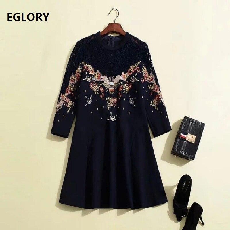 2019 printemps mode robe femmes dentelle broderie Patchwork 3/4 manches Slim Fit a-ligne bleu foncé noir coton robe Chic Vestidos