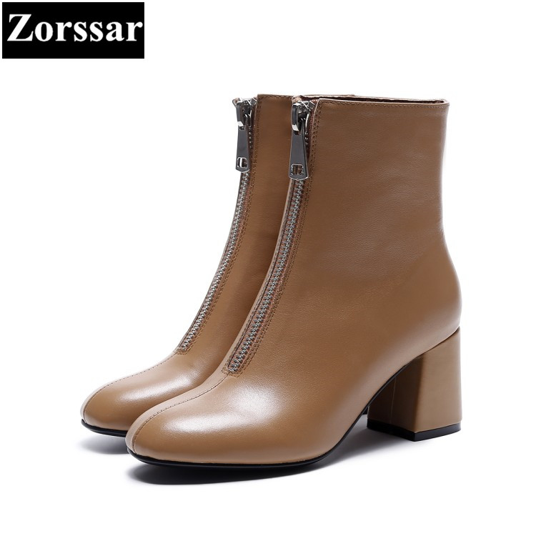 {Zorssar} 2018 NEW fashion women boots Cow leather comfort Thick heel Square Toe High heels ankle boots winter women shoes sfzb new square toe lace up genuine leather solid nude women ankle boots thick heel brand women shoes causal motorcycles boot