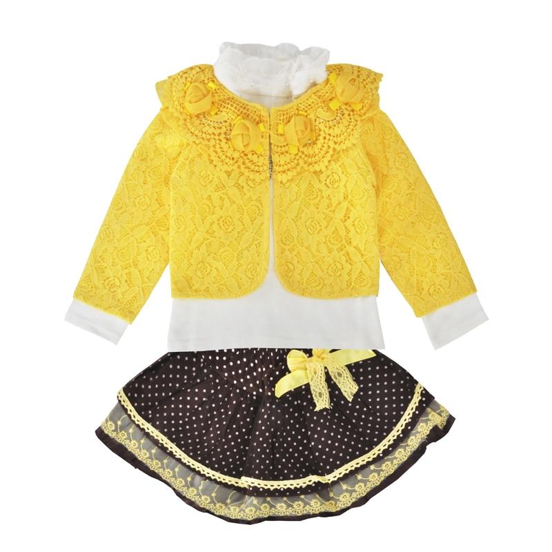 Baby Girls Clothing Set Fashion Yellow Lace Beaded Coat Tutu Skirt Long Sleeve T Shirt 3pcs Outfits Toddler Girls Clothing Sets clothing set kids baby girl short sleeve t shirt tutu floral skirt set summer outfits