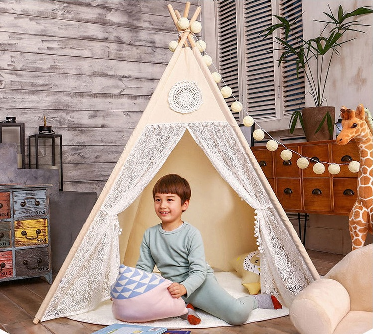 YARD Teepee Four Poles Kids Foldable Play Tent Children Indoor Play Tents for Kids