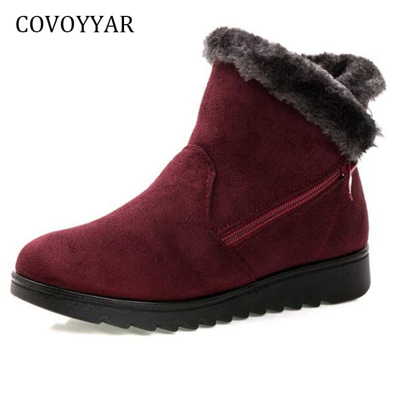 COVOYYAR 2019 botas para la nieve caliente mujeres Vintage zapatos de invierno botas de piel de las mujeres-forrado de algodón Casual Zapatos Tallas grandes WBS794