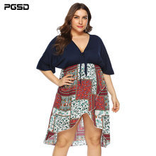PGSD New Big size fashion casual Summer Dress Deep V knotted irregular bat sleeve waist printing stitching women clothes female