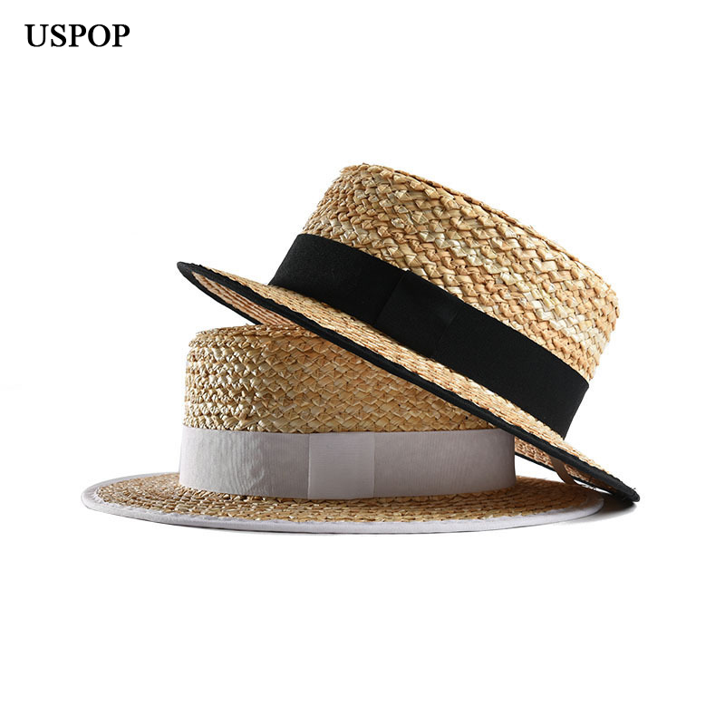 USPOP Women Straw Sun Hats Summer Natural Straw Hat Flat Top Sun Hat Women Beach Hat Straw Fedoras