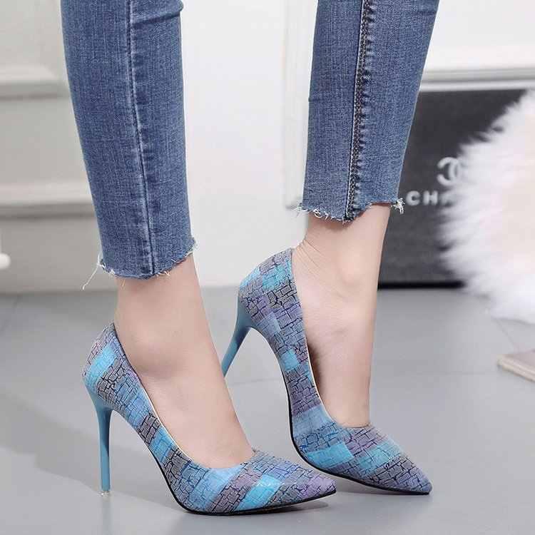 Ukuran 34-42 Warna Yang Sesuai dengan Sepatu Wanita Dicetak Seksi Stiletto High Heels Dangkal Menunjuk Toe Wanita Sepatu Hak Tinggi pompa