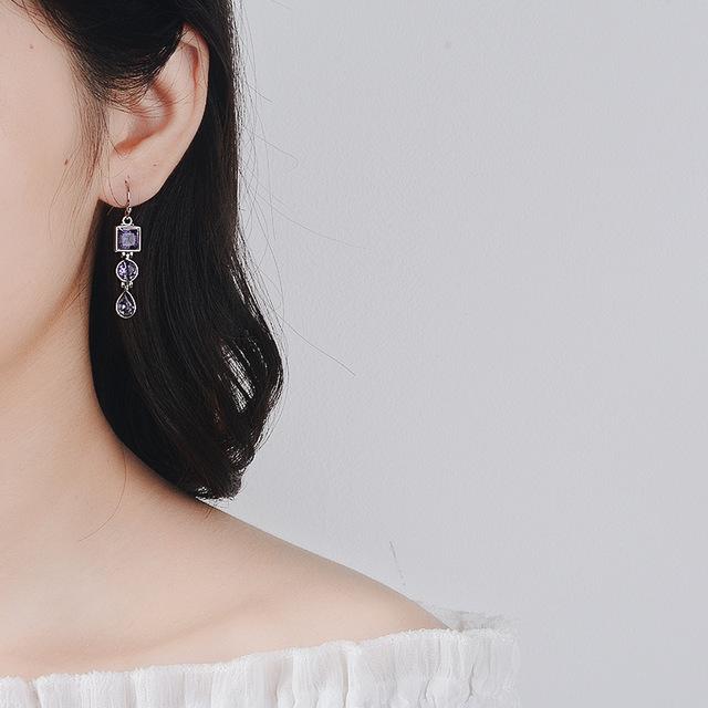 OMHXZJ Wholesale European Fashion Woman Girl Party Wedding Gift Geometric Amethyst 925 Sterling Silver Drop Earrings EA282