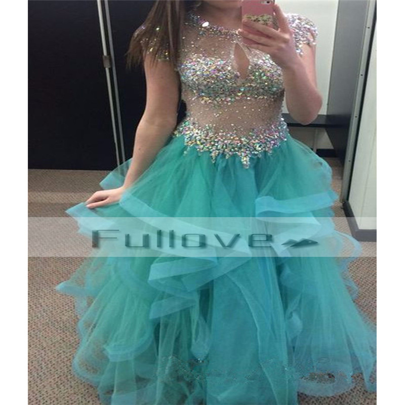 Dazzlingly Rhinestone Beaded Sheer A-Line   Prom     Dresses   Long 2019 Sexy See Through Ruffles Tiered Organza Party   Dress   Vestidos