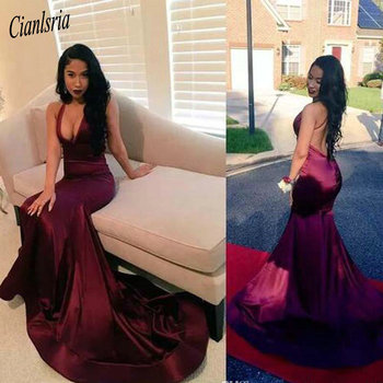 Black Girls Formal Wear Backless Prom Dresses With Deep V Neck Long Mermaid Evening Gowns Count Train African Vestidos