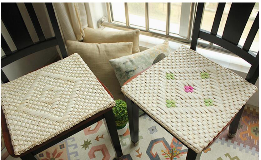manual corn straw square futon cushion car seat cushion rattan dining chair cushion pad