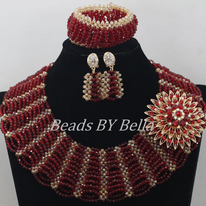 Popular Wine Chunky Bib Statement Necklace Set Nigerian African Wedding Beads Jewelry Set Bride Jewelry Set Free Shipping ABF411 цена и фото