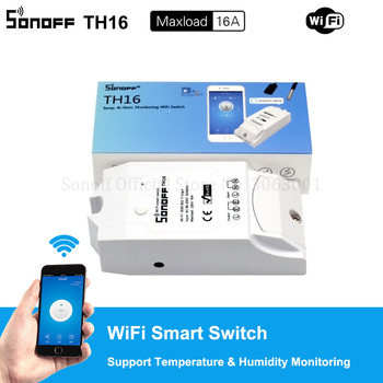 Sonoff TH16 15A Wifi Smart Switch Support Temperature Monitor Sensor Humidity High Accuracy Sensor Work with Alexa & Google Home Home Automation Modules