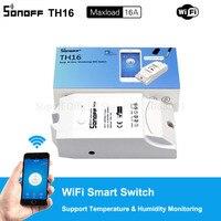 Sonoff-interruptor inteligente TH16 de 15A con Wifi, Sensor de alta precisión de humedad, compatible con Alexa y Google Home