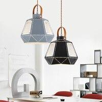 Промышленный Стиль Железный черный серый подвесной светильник Одиночная железная отель кафе кабинет Железный Алмаз подвесной светильник