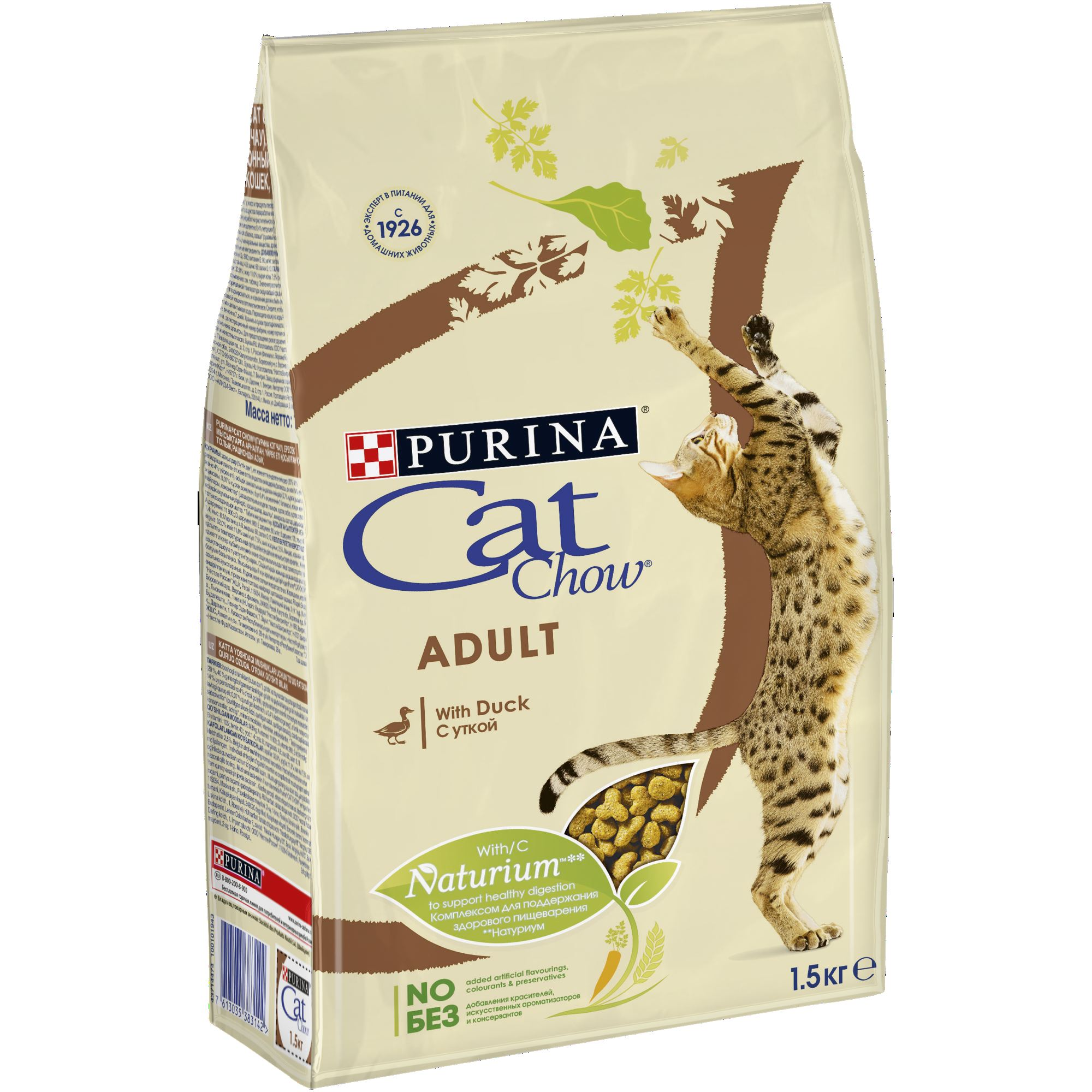 Cat Chow dry food for adult cats with a duck, Package, 1.5 kg