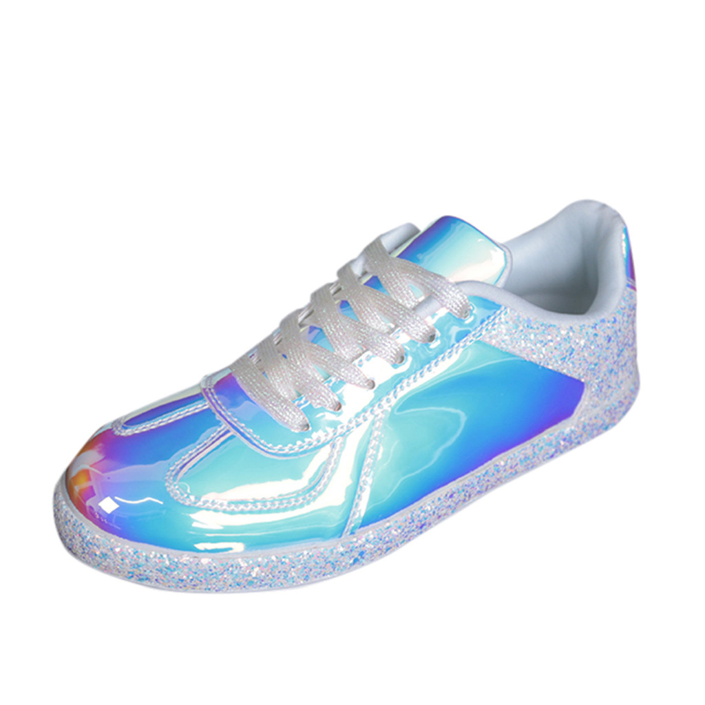 SAGACE Sneakers Reflective-Shoes Lace-Up-Cover Mixed-Colors Bling Colorful-Series Breathable title=