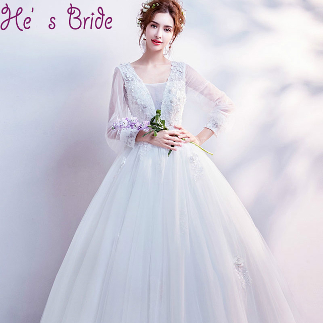 Evening Dress Elegant White V Neck Poet Long Sleeves Lace Up Back ...