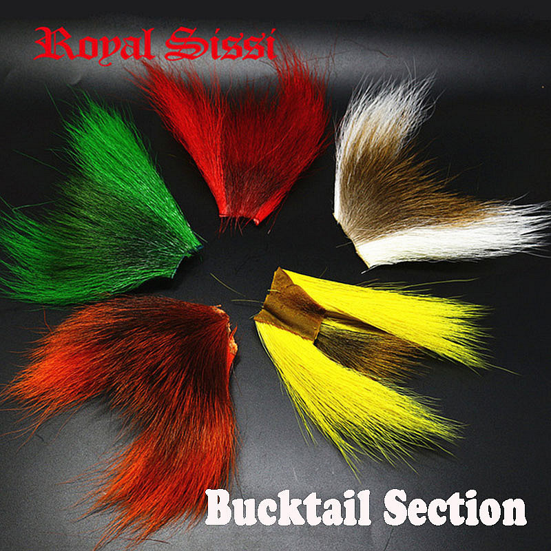 5colors/lot BUCKTAIL HAIR PIECES COMBO selected bigger size bucktail sections streamers &wings& tails fly fishing tying material 5 pieces lot a20 bga