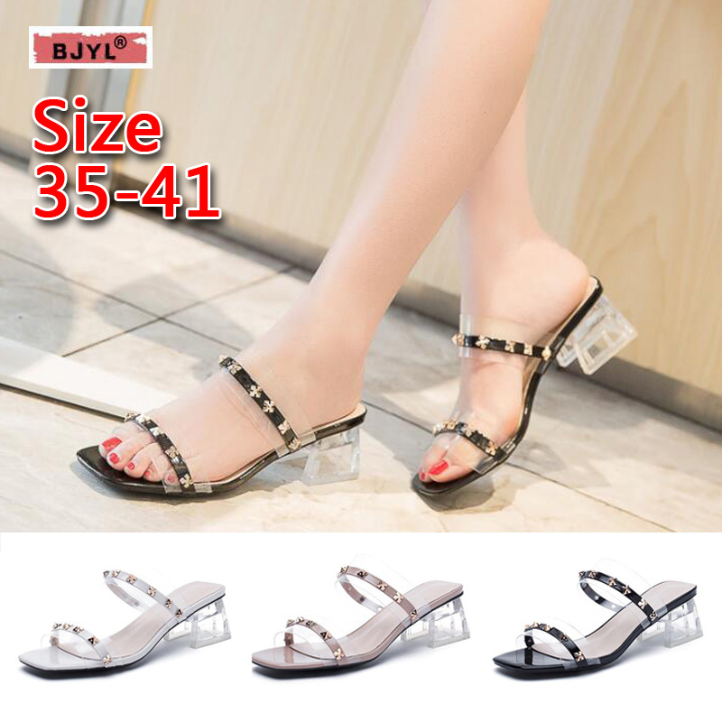 BJYL slippers women shoes unicorn slippers Chunky transparent sandals for women in summer 2019 with open-toe rivet kitten heels