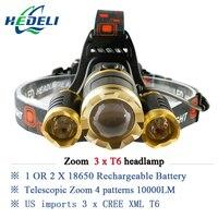 10000 Lumens Rechargeable Led Headlamp 3T6 Head Flashlight Torch Cree Xml T6 Head Lamp Waterproof Lights