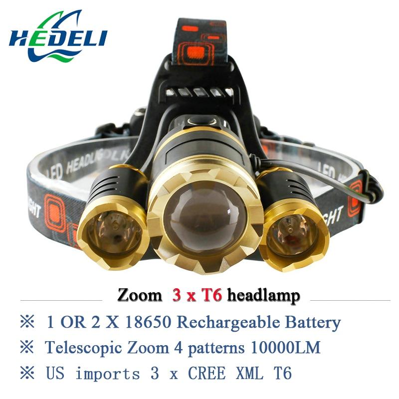 10000 lumens rechargeable <font><b>led</b></font> headlamp 3T6 head flashlight torch cree xml t6 head lamp waterproof lights headlight 18650 battery