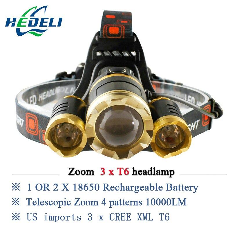 10000 lumens rechargeable led headlamp 3T6 head flashlight torch cree xml t6 head <font><b>lamp</b></font> waterproof lights headlight 18650 battery