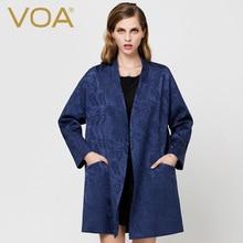 VOA temperament long section of elegant silk jacquard quilted coat thin bat sleeve cotton parkas female M5288