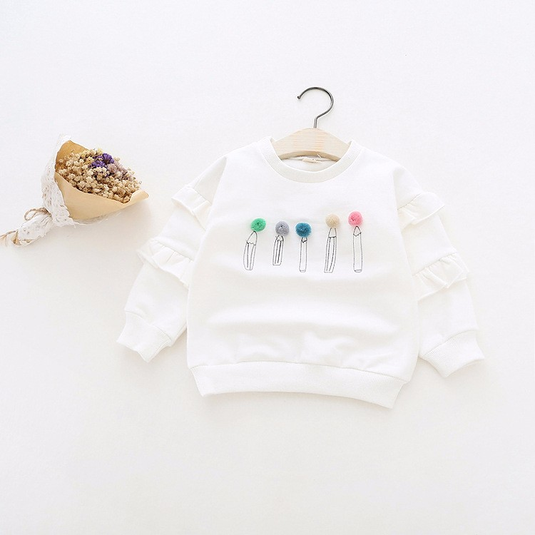 baby girl autumn fleece colorful fur balls pencil printed hoodies sweatshirt (5)